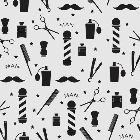 sumbol: Barber shop vintage pattern on the black background