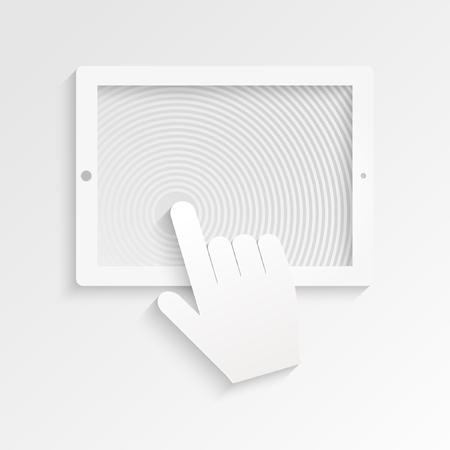 tablet pc in hand: PC Tablet with hand cursor symbol on the white background