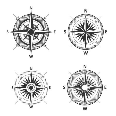 compass rose: Compass wind rose vector set.