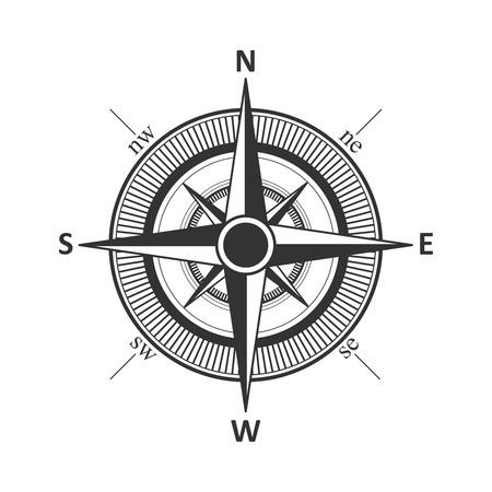 compass rose: Compass vintage wind rose vector illustration.