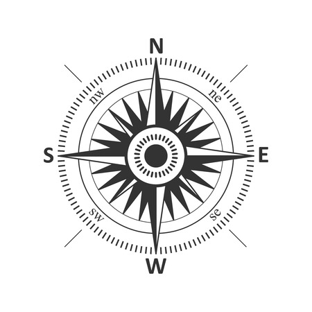 Compass wind rose vintage Vektor-Illustration. Standard-Bild - 44197791