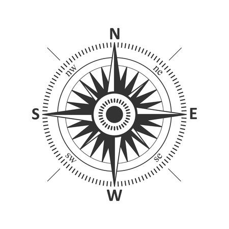 brujula: El viento del compás de la vendimia se levantó ilustración vectorial.