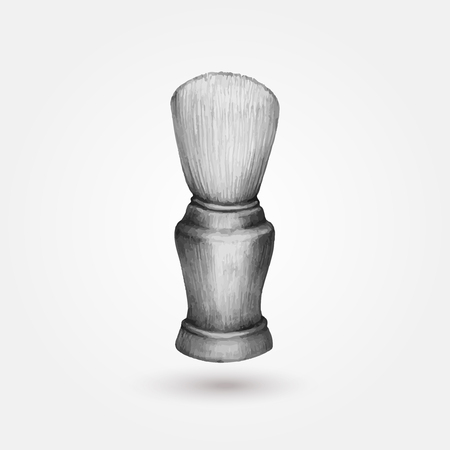shaving brush: Old styled shaving brush isolated on white background Illustration