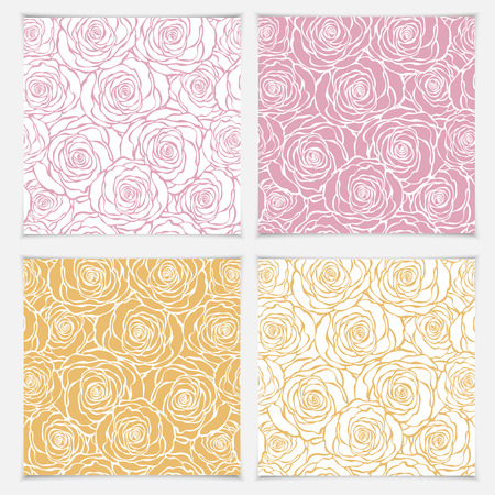 rose bouquet: Floral seamless pattern with roses. Vector roses hand drawn pattern. Illustration