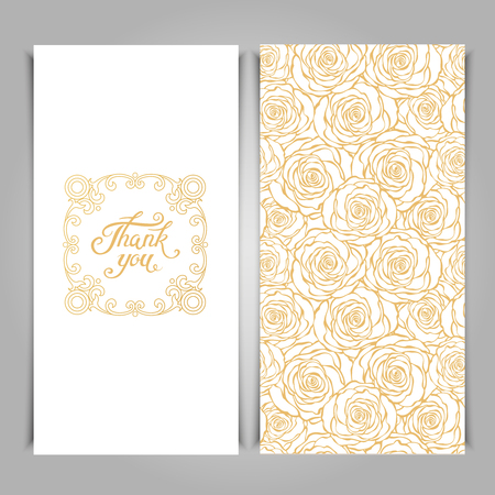 Elegant Thank You card template with golden seamless floral pattern