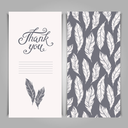 card: Elegant Thank You card template with silver feathers symbols.