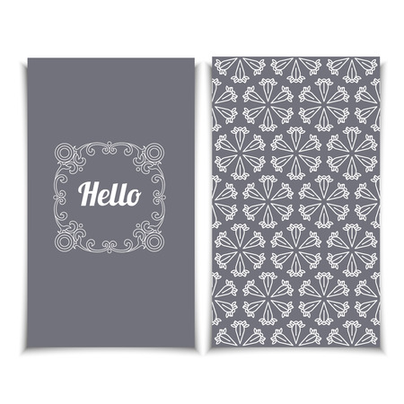 affiance: Elegant Hello Greeting Card template with pink seamless lace pattern.