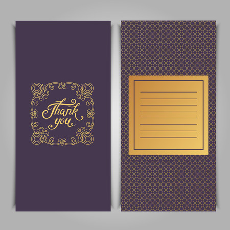 gold silver: Thank You card template with pink seamless lace pattern.