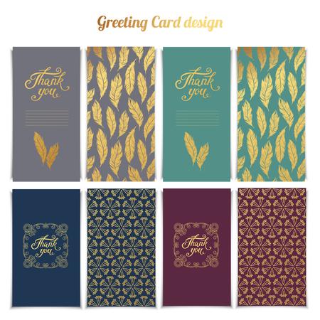 affiance: Thank You card templates design with pink seamless golden pattern set.