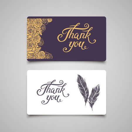 Thank You lettering card template. Ilustrace