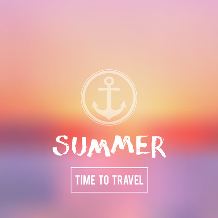 sunset beach: Summer Time To Travel abstract background. Sunset on the sea beach illustration Illustration