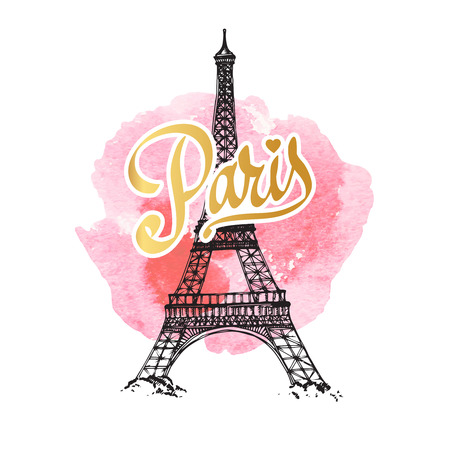 tower: Eiffel tower parisian symbol. Hand drawn vector greeting card Illustration