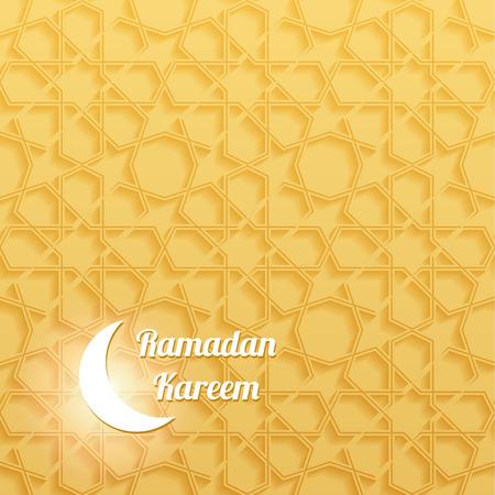 malaysia culture: Ramadan Kareem Greeting Card with Seamless Muslim Pattern. Illustration