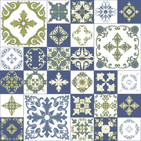 Mosaico abstracto sin fisuras patrón decorativo de la vendimia. Diseño del papel pintado floral. Foto de archivo - 48088268