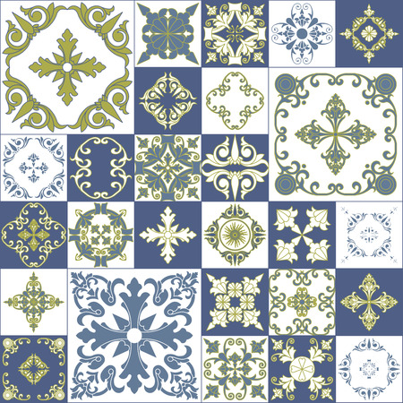 ceramic tiles: Vintage abstract patchwork decorative seamless pattern. Floral wallpaper design.