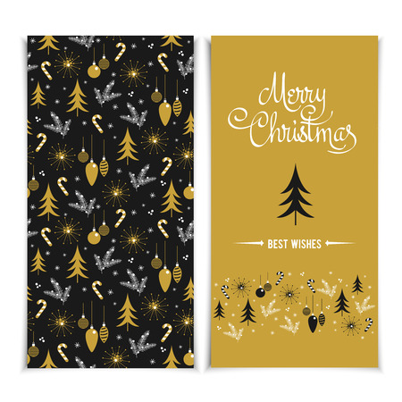 wish list: Merry Christmas card template. Christmas golden Posters set vector illustration