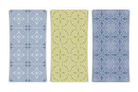 decorative wallpaper: Vintage abstract decorative seamless pattern set. Floral wallpaper design illustration