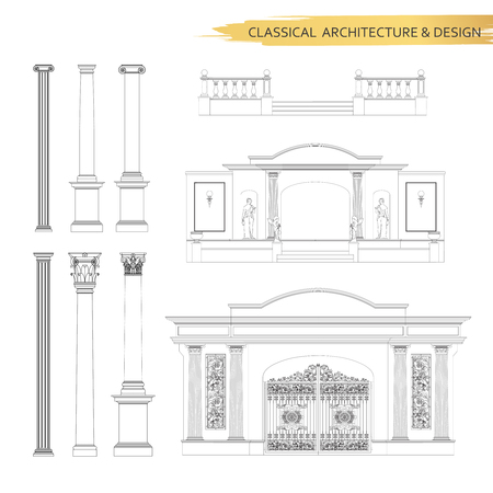 construction plan: Classical architectural form drawings in set. Vector drawing design elements for classic architecture.