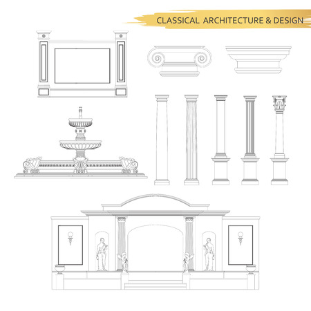 classic classical: Classical architectural form drawings in set. Vector drawing design elements for classic architecture.