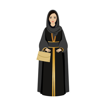 girl portrait: Muslim Girl with traditional hijab. Abaya Fashion muslim girl holding golden bag.