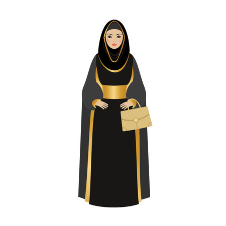 black dress: Muslim Girl with traditional hijab. Abaya Fashion muslim girl holding golden bag.