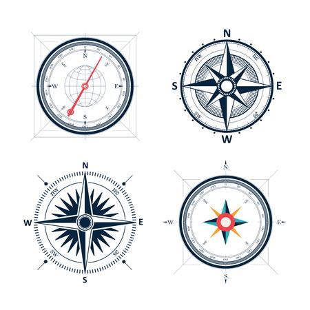 De uitstekende wind nam kompas set. Geïsoleerde vector ontwerp van wind roos