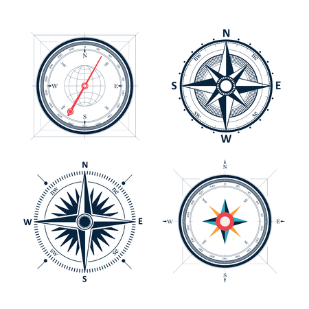 old compass: Vintage wind rose compass set. Isolated vector design of wind rose