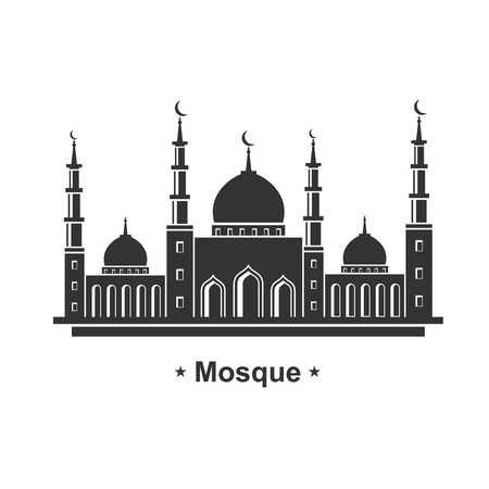 mosque illustration: Mosque architecture icon concept for Ramadan and Eid vector illustration.