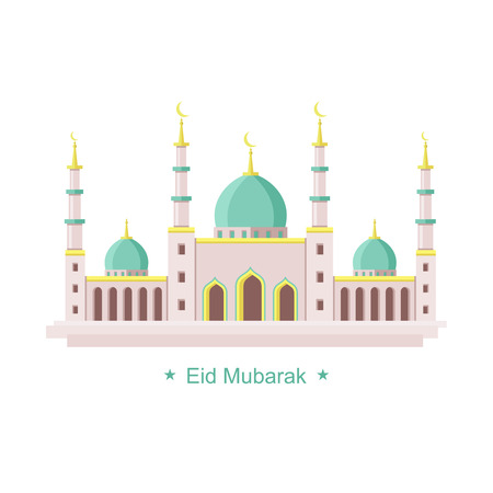 mosque illustration: Artistic mosque architecture icon concept for Ramadan and Eid vector illustration