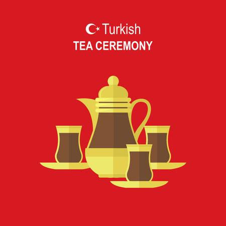 anatolia: Turkish traditional Tea set on red background. Flat modern illustration concept for food design.