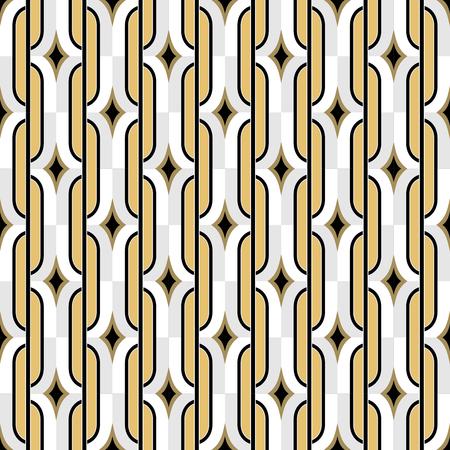 twenties: Art Deco golden seamless vintage wallpaper pattern. Geometric decorative pattern.