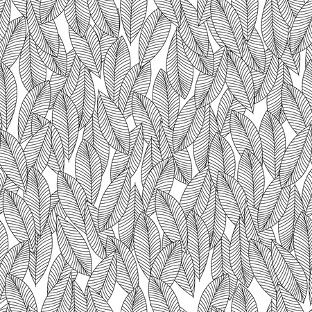 monochromic: Abstract monochromic pattern with leaves vector wallpaper.