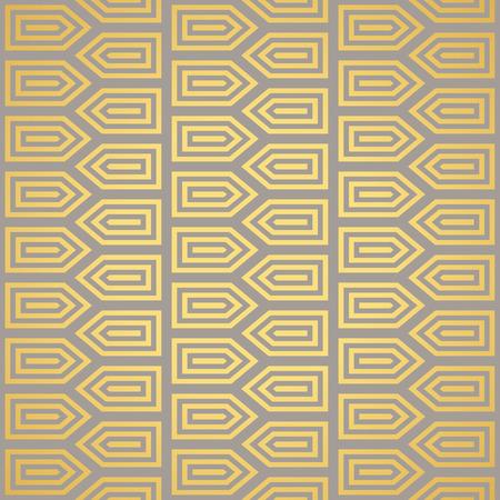 gold silver: Art Deco seamless vintage wallpaper pattern. Geometric decorative pattern.
