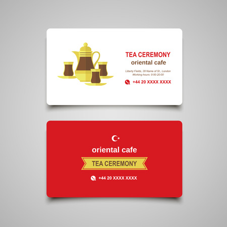 turkish: Turkish traditional Tea set. Flat modern business card concept for food industry. Illustration