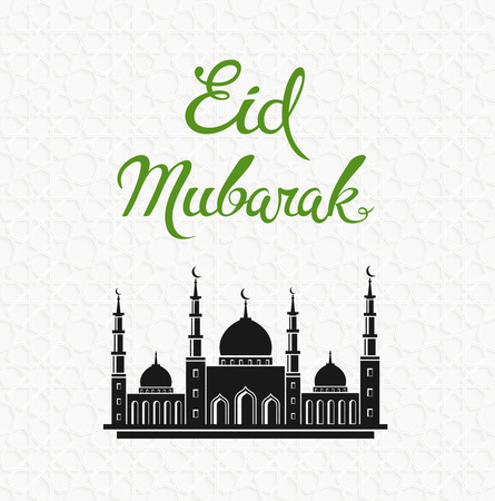 Eid mubarak vector greeting card design with mosque. Muslim holiday background Illustration