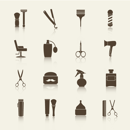 hairstylist: Barber Shop vintage monochrome icons set with reflection.