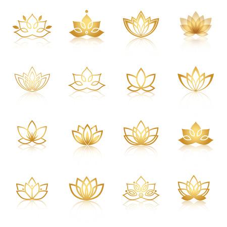 dorado: Golden Lotus símbolo de iconos. Vector etiquetas florales para la industria de bienestar.