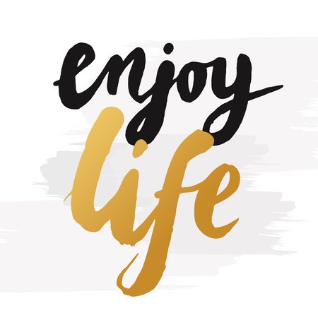 "Hand-drawn word ""enjoy life"" in gold color. Inspirational quote handwritten with golden ink. Custom lettering for posters, t-shirts and greeting cards. Vector calligraphy isolated on white background with brush effect"