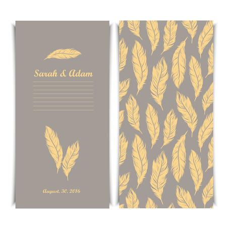 affiance: Elegant invitation vintage template with silver feathers symbols Illustration