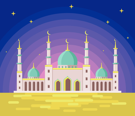 stars  background: Artistic background with blue mosque for Ramadan and Eid vector illustration.