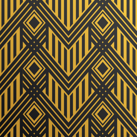 Art Deco seamless vintage wallpaper pattern. Geometric vector golden decorative pattern