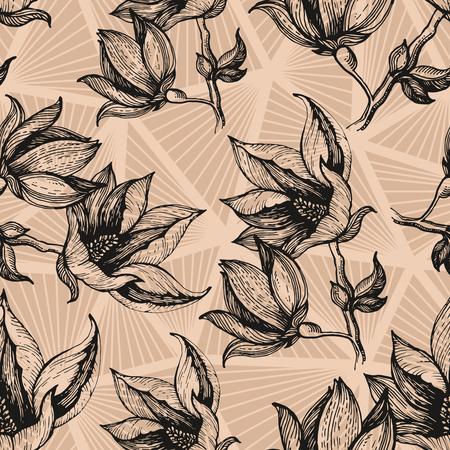 Hand getrokken bloemenpatroon met veelhoekige grijze backgorund