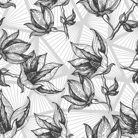 backgorund: Hand drawn floral pattern with pilygonal gray backgorund.