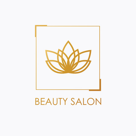 Golden Lotus symbol. Vector floral labels for Wellness and yoga industry.