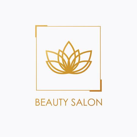 Golden Lotus symbool. Vector bloemen etiketten voor Wellness en yoga-industrie.