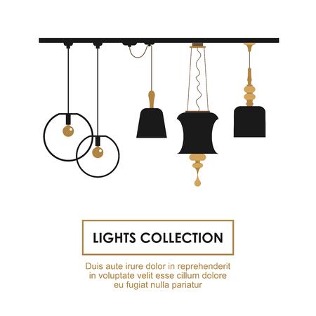 pendant lamp: Lights Collection symbols set. Vector elements for interior design services. Illustration