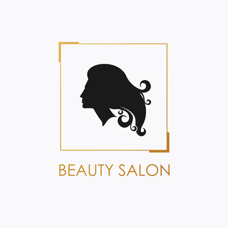 hairdress: Beauty Salon logo design template with beautiful womans profile. Illustration