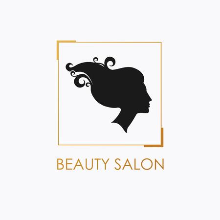 Beauty Salon logo design template with beautiful womans profile. Illustration