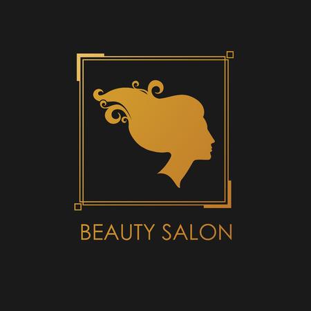 tress: Beauty Salon logo design template with beautiful womans profile Illustration