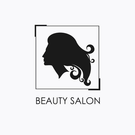 tress: Beauty Salon logo design template with beautiful womans profile. Illustration